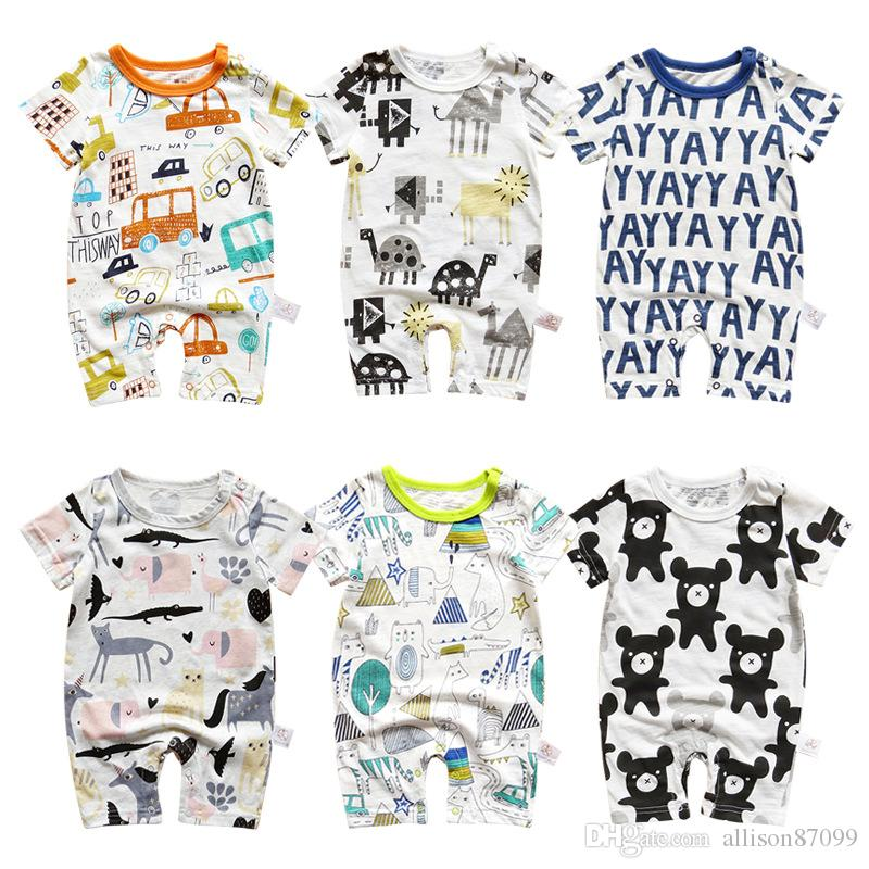 4bbb18cd6 2019 Newborn Baby Boy Clothes Jumpsuit Cartoon Unicorn Animals ...