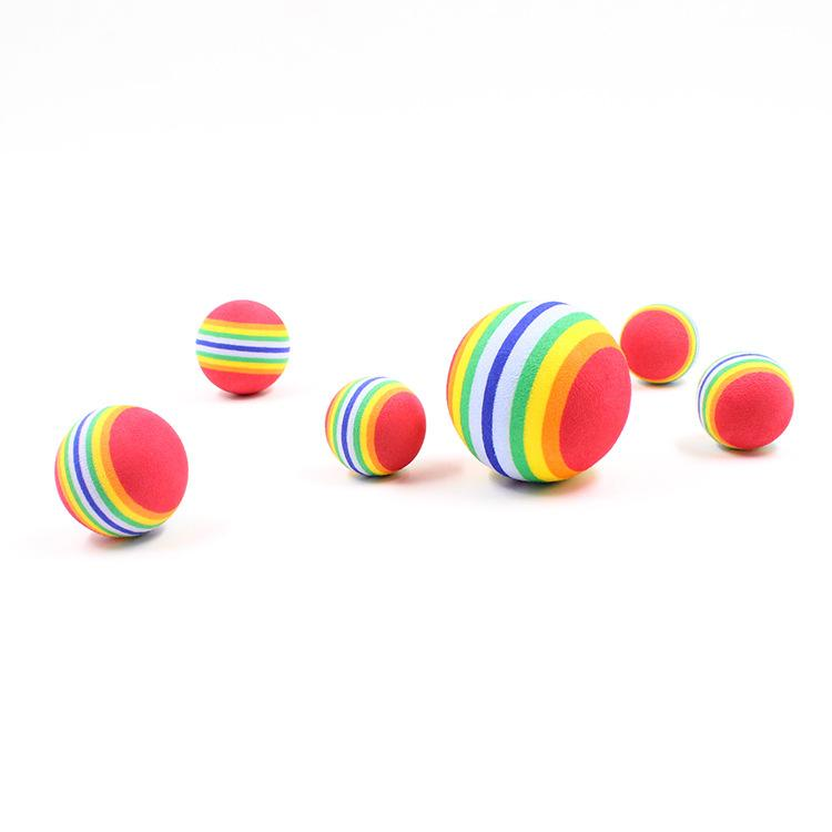 80pcs Rainbow Color Cat/Dog Toy Ball Interactive Cat Toys Play Chewing Molars Natural Foam Ball Training Pet Supplies