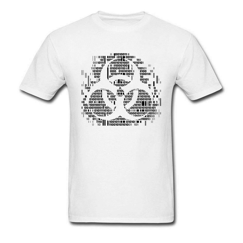Discount Customized T Shirt Binary Biohazard Logo Design Pure Cotton Casual Tops T Shirt On Sale Cheap Simple Tees Men