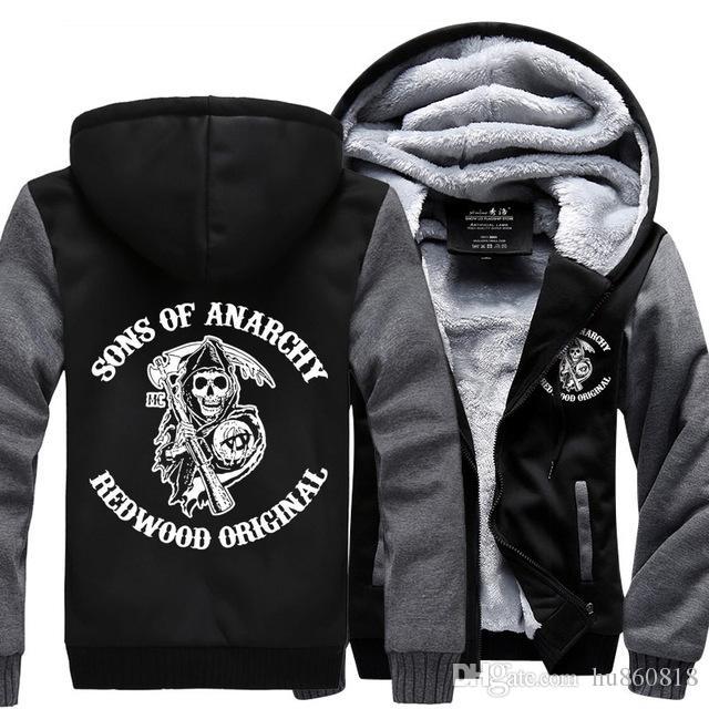 Sons of Anarchy Samcro Jax Winter Hoodie Felpa in pile Felpa con cappuccio Cappotto Giacca Pullover Plus Size