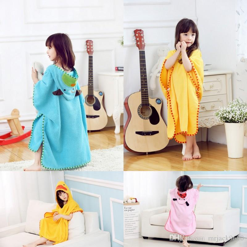789d71e26f 2019 Korean Style Children Bathrobe Boys Girls Cartoon Cotton Animal Cape  Poncho Hooded Towel Baby Kids Bath Towel Beach Towel For 5 13 Years Old  From ...