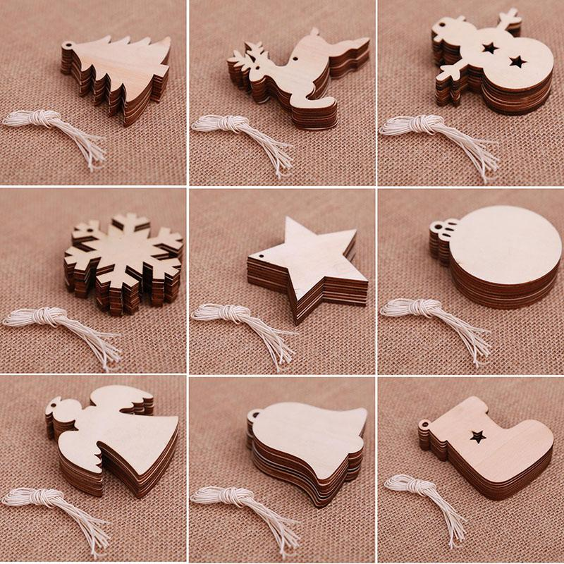 Christmas Wooden Chips Shaped Embellishments Hanging Decorations