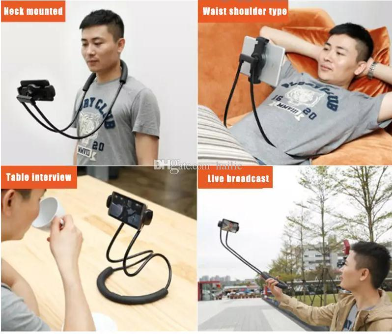 Necklace Cellphone Support Holder Mounts Selfie Stick Stand Holder Tablet for iPhone 8 7 Plus Samsung S8 with Retail Package
