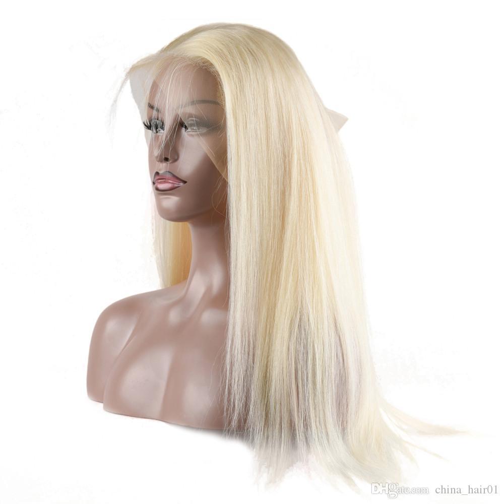 Bleach Blonde 360 Dentelle Frontal Fermeture 22.5x4x2 avec Tissages droite # 613 Brésilien Blonde cheveux humains 3Bundles avec 360 de dentelle Frontal