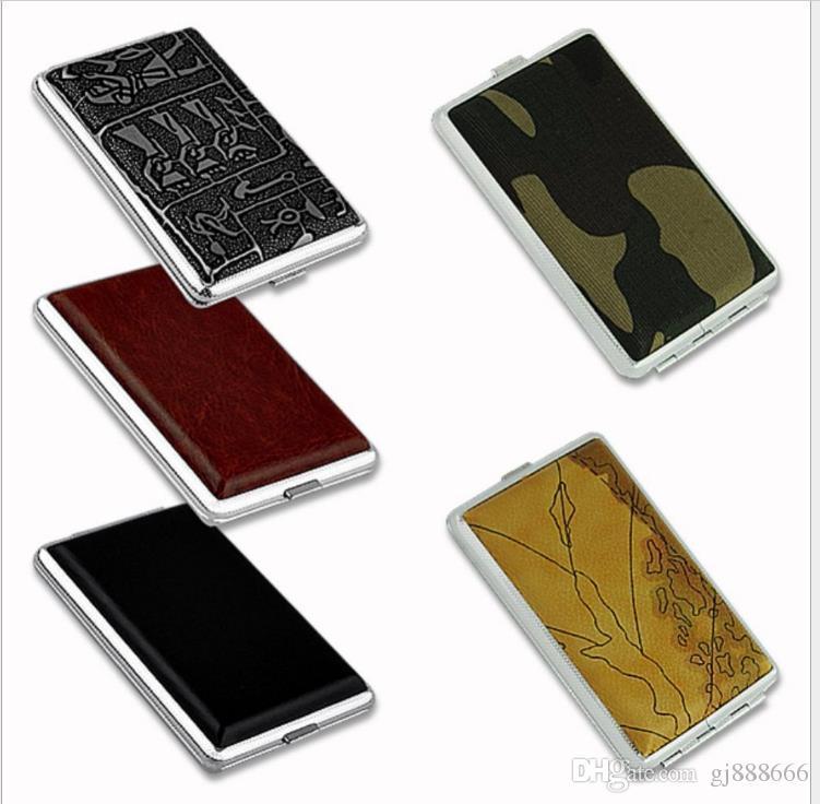 Random Design of Ultra-thin Portable Men's Cigarette Box with 12 Fine Leather Packs