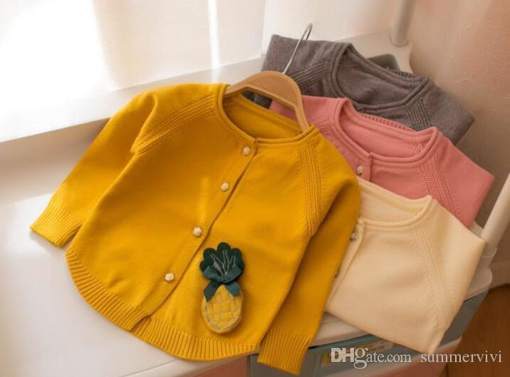df2c98fb0 Infants Cardigan Baby Girls Bows Pineapple Applique Sweater 2018 ...
