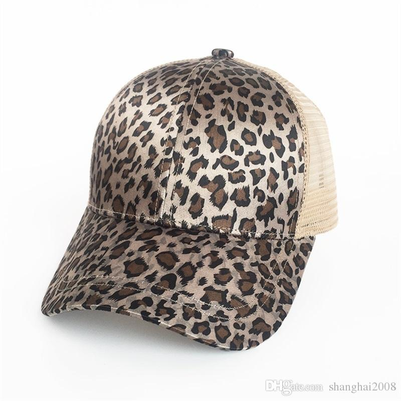 196f106e9d1 2018 New Leopard Print Summer Ponytail Baseball Cap Mesh Hats For ...