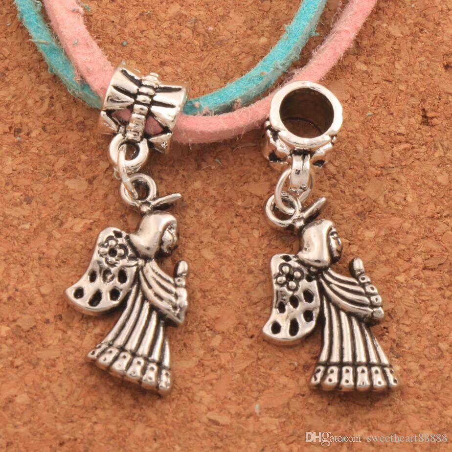Praying Angel With Flower Wings Big Hole Beads 100pcs Antique Silver Fit European Bracelets Jewelry Diy B102 33.2x11.7mm Beads & Jewelry Making Jewelry & Accessories