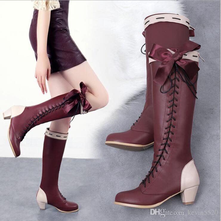 3fa45c602dfb 2018 Autumn And Winter Women New Style Round Toe Chunky Heel Lace Up Bow  Tie Boots Female Mix Color Back Zipper Knight Boots Walking Boots Ankle  Boot From ...