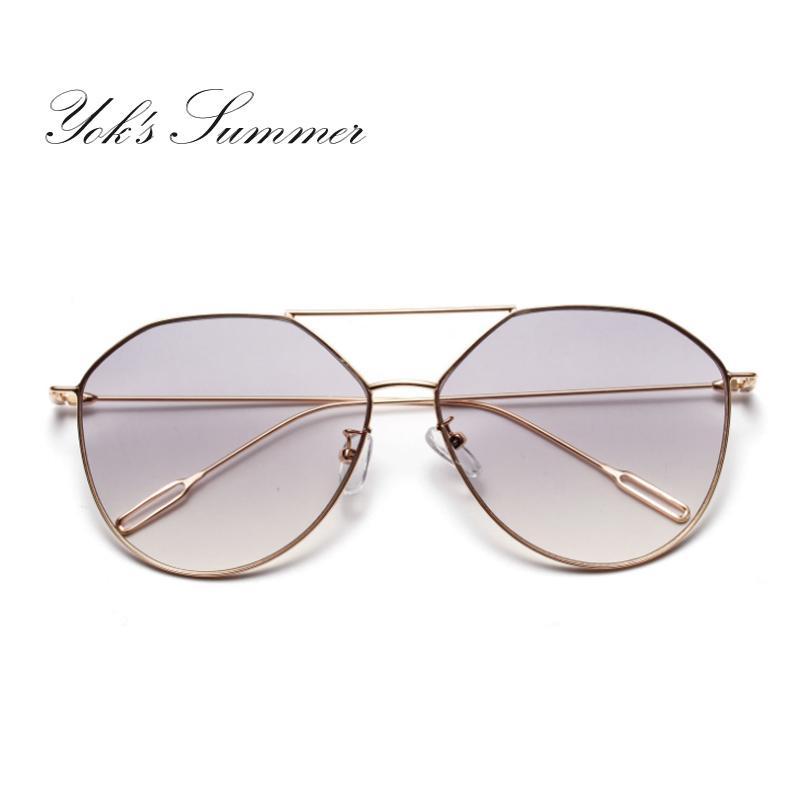 8172e077996 Yok S Fashion Cat Eye Sunglasses Women Brand Designer Gold Flat Top Thin  Metal Frame Glasses Female Goggles Lunette WN093 Designer Eyeglasses Womens  ...