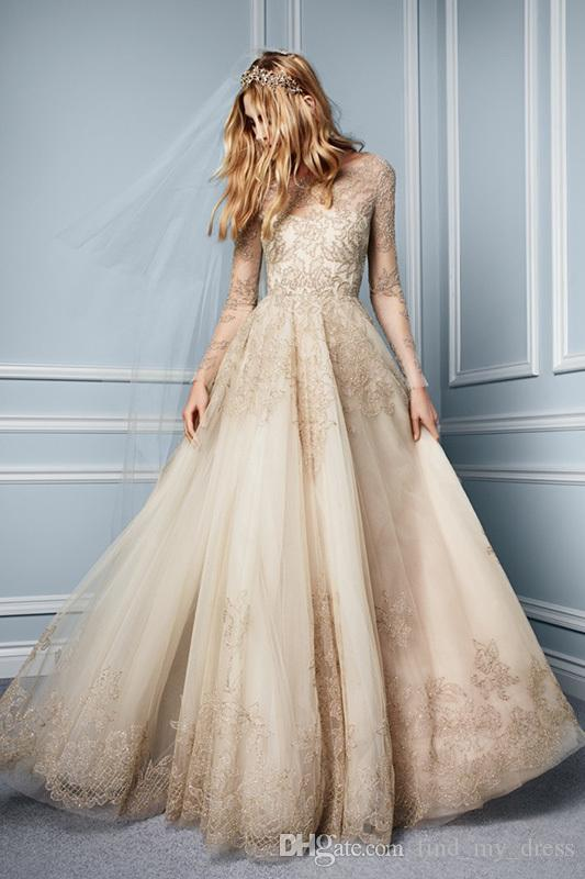 Yeni Şampanya Bir Çizgi Uzun Illusion Kollu Dantel Gelinlik Mütevazı Draped Prenses Tül Gelin Törenlerinde Çarpıcı Modern Custom Made En