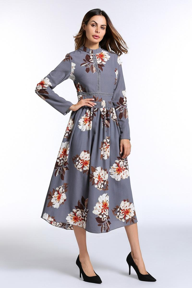f3cbe966e1393 European New Style Dress Style Print Dress Gray 2018 Spring New Sleeve  Embroidered Dress Skirt Female Loose Skirt Discount Prom Dresses Formal  Evening ...