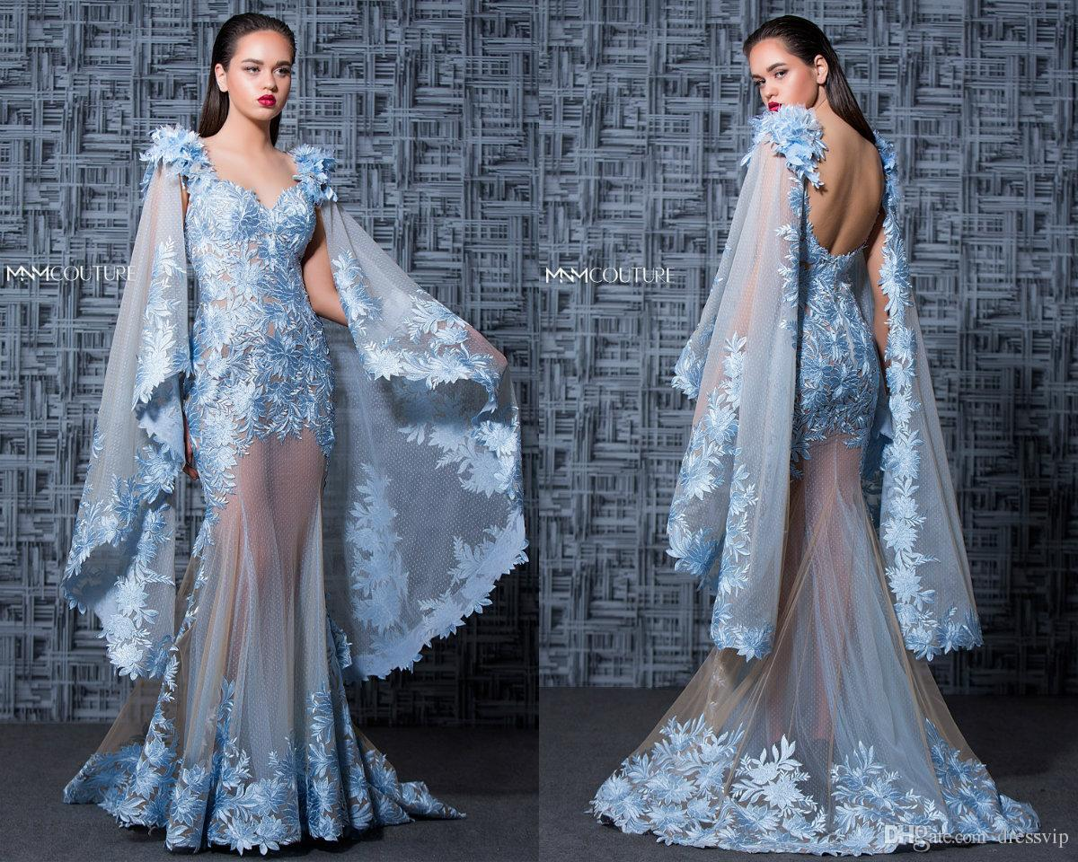 83508d25d0c93 MNM Couture Mermaid Prom Dresses Lace Applique V Neck Sweep Train 3D Floral  Flower Illusion Luxury Evening Gowns Formal Dress Evening Party Blue Prom  ...