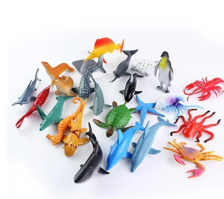 24pcs Set Jouets Pour Enfants Petits Cadeaux Cadeaux Modele Marin Animal Jouet Manchot Grand Requin Blanc Tortue Baleine Modele Petits Ornements