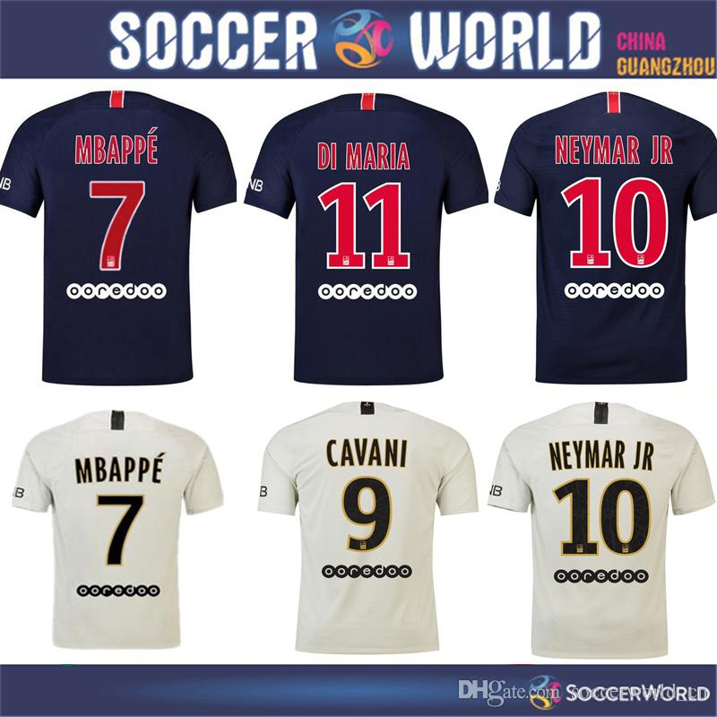 2019 2019 PSG Soccer Jersey  7 MBAPPE  10 NEYMAR JR  9 Cavani Di Maria DANI  ALVES De Foot Camisa Jersey S 3xl From Soccerworld cn 808cbac90