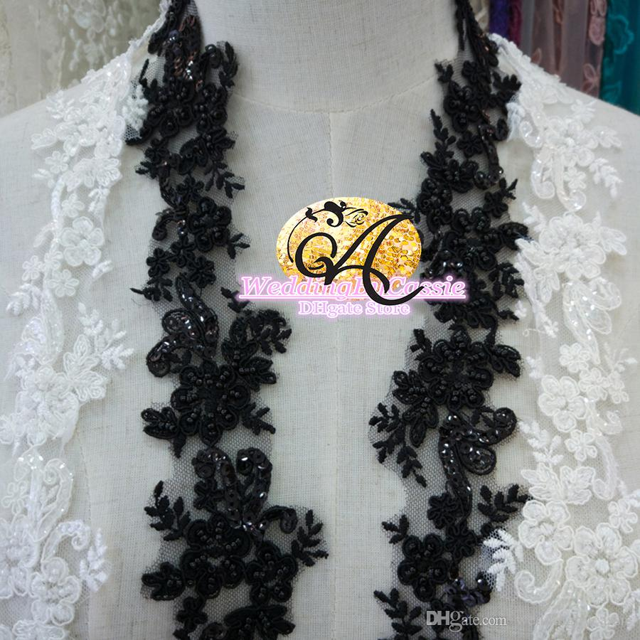 Sale by Yard black white lace with bead bridal veil embroidery Lace Trim Wedding dress Lace Ribbon Sewing Accessories M001