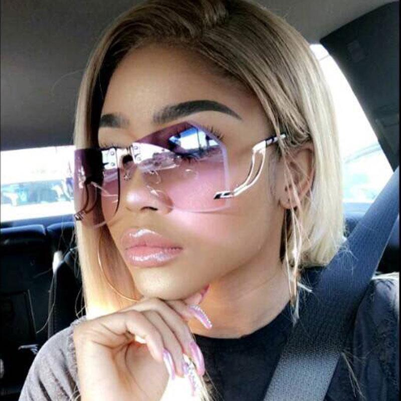 82848011ab0a7 Oversized Sunglasses Women Luxury Brand Irregular Rimless Sun Glasses 2018  New Designer Fashion Gradient Clear Shades For Female Baby Sunglasses  Designer ...