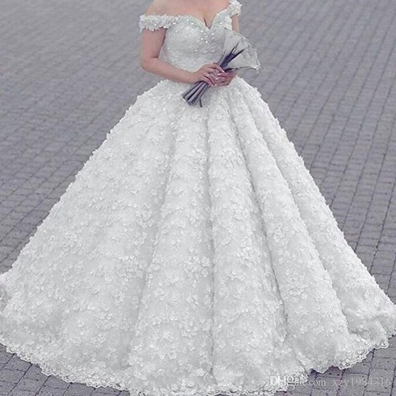 3D Цветочные Robe De mariée Sexy плеча шариков Аппликация Кружева бальное платье свадебные платья Гламурные Саудовская Аравия Платье De Novia Свадебные Dres