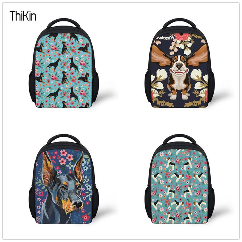43b53c083a1e THIKIN School Bags for Kids Doberman Flower Printing Kindergarten ...
