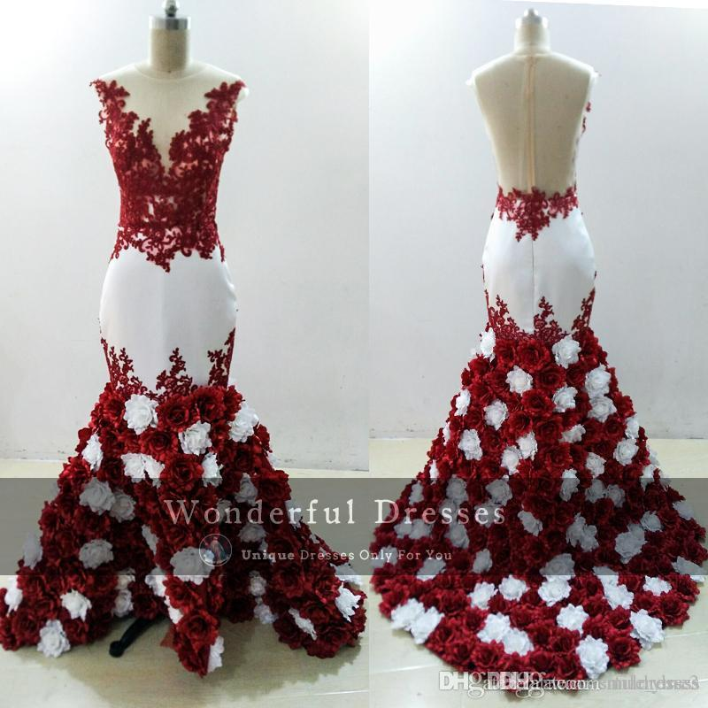 07a708f9a151 2018 3D Rose Flowers Mermaid Prom Dresses Sexy Burgundy And White Lace  Appliques Sheer Black Girl Evening Dress African Negarian Formal Dresses  For Women ...