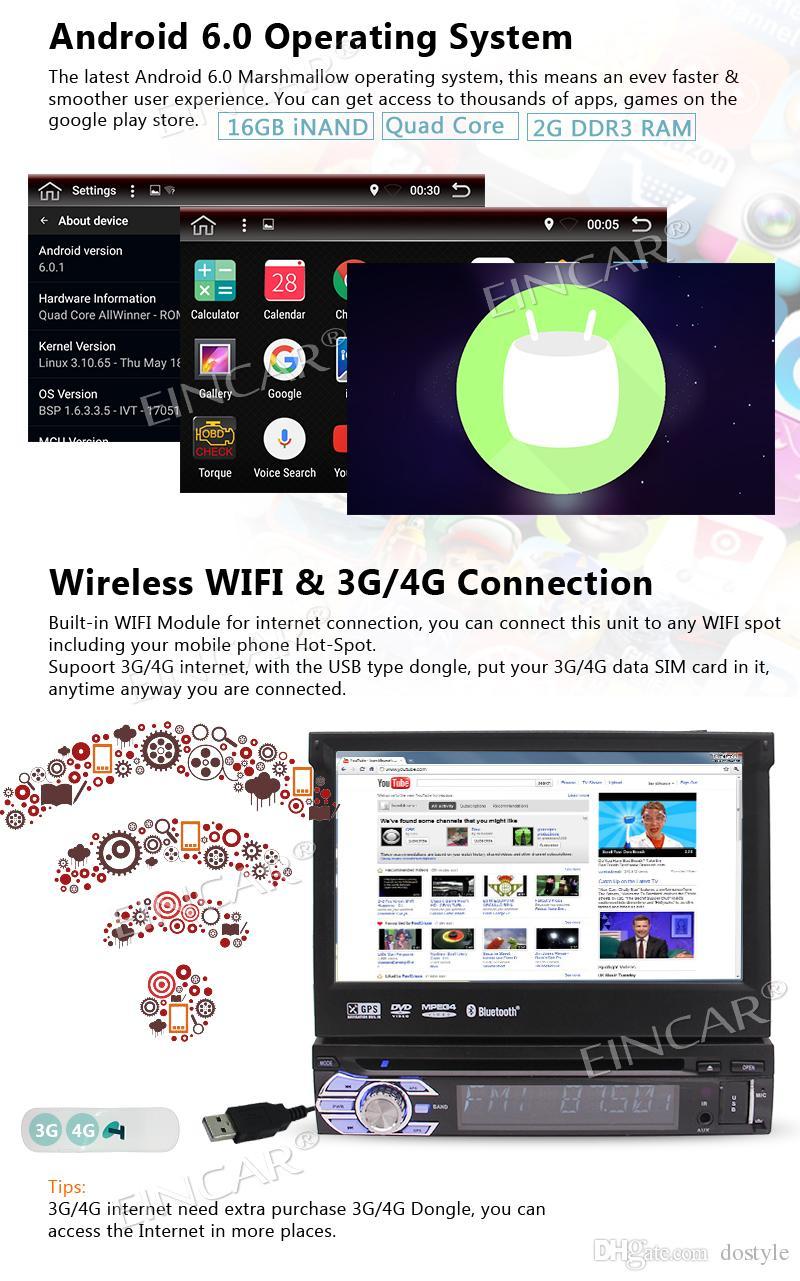 Singola unità Android 6.0 Head Unità da 7 pollici con autoradio con supporto regolabile Angolo di visione GPS, lettore CD DVD auto, Bluetooth
