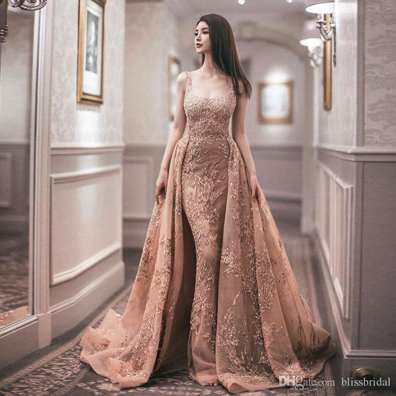 New Fashion Zuhair Murad Evening Dresses Spaghetti Lace Overskirt Mermaid Prom Dress Sweep Train Celebrity Party Gowns Custom Made