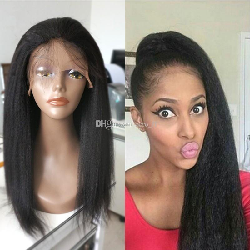 Lumière Yaki Lace Front Perruques En Soie Top Italien Yaki Brésilien Vierge Cheveux Perruques Glueless Remy Yaki Droite Full Lace Perruques