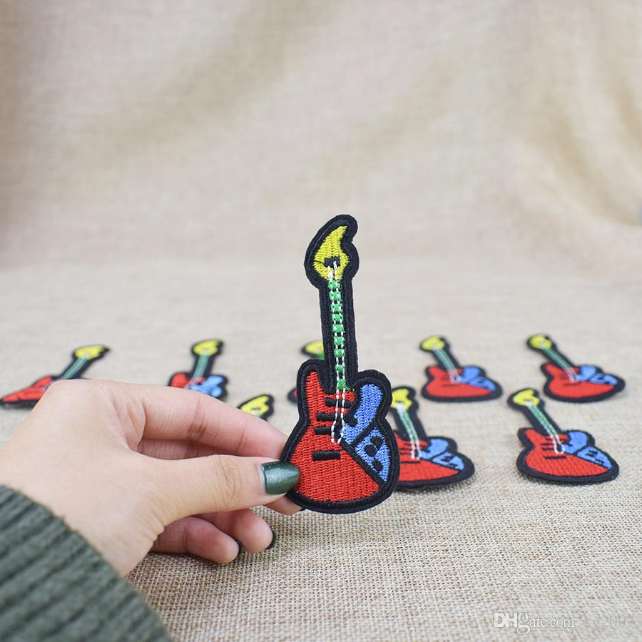 Guitar Embroidered Patches for Clothing Bags Iron on Transfer Applique Patch for Kids Jeans Caps DIY Sew on Embroidery Stickers