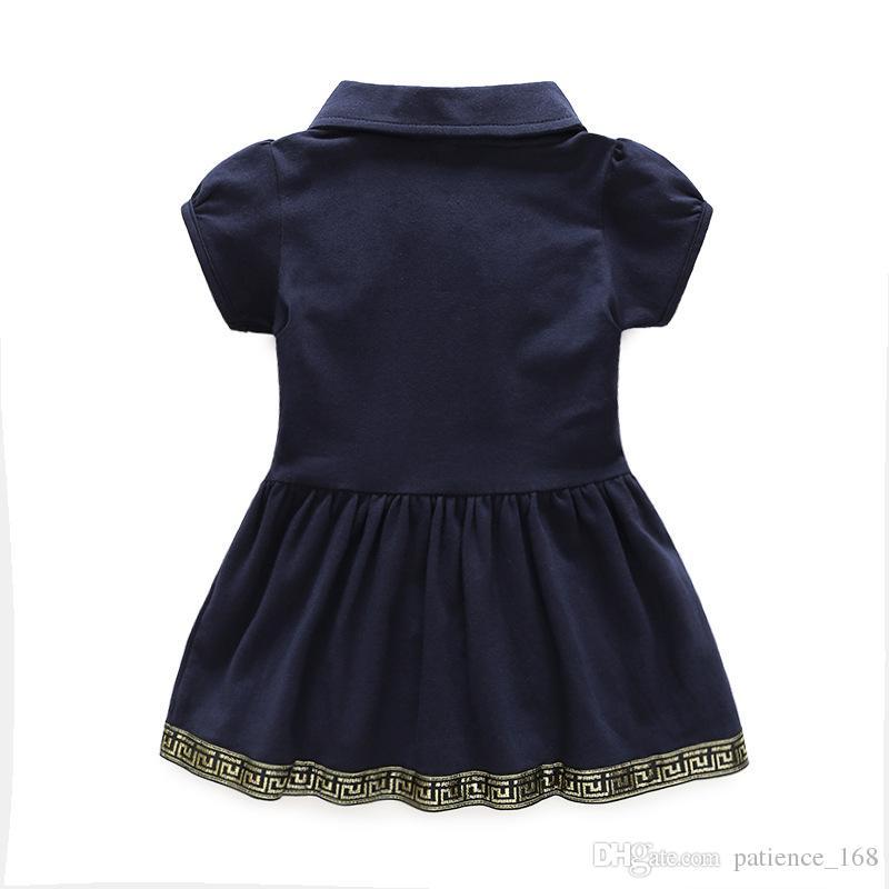 재고 있음 2018 INS 판매 유럽과 미국 스타일의 소녀 짧은 소매 옷 깃 칼라 드레스 높은 품질의 코 튼 여름 하트 모양의 눈 드레스