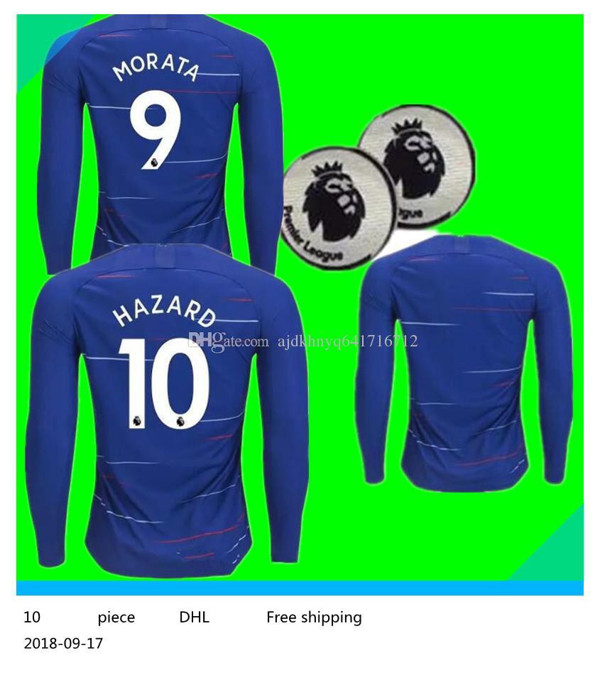 8a6547d7e 2018 Chelsea Home Long Jersey 18 19 MORATA FABREGAS OSCAR HAZARD MIAZGA  WILLIAN TERRY KANTE Long Jersey Chelsea Soccer Jersey MORATA Football Shirt  Online ...