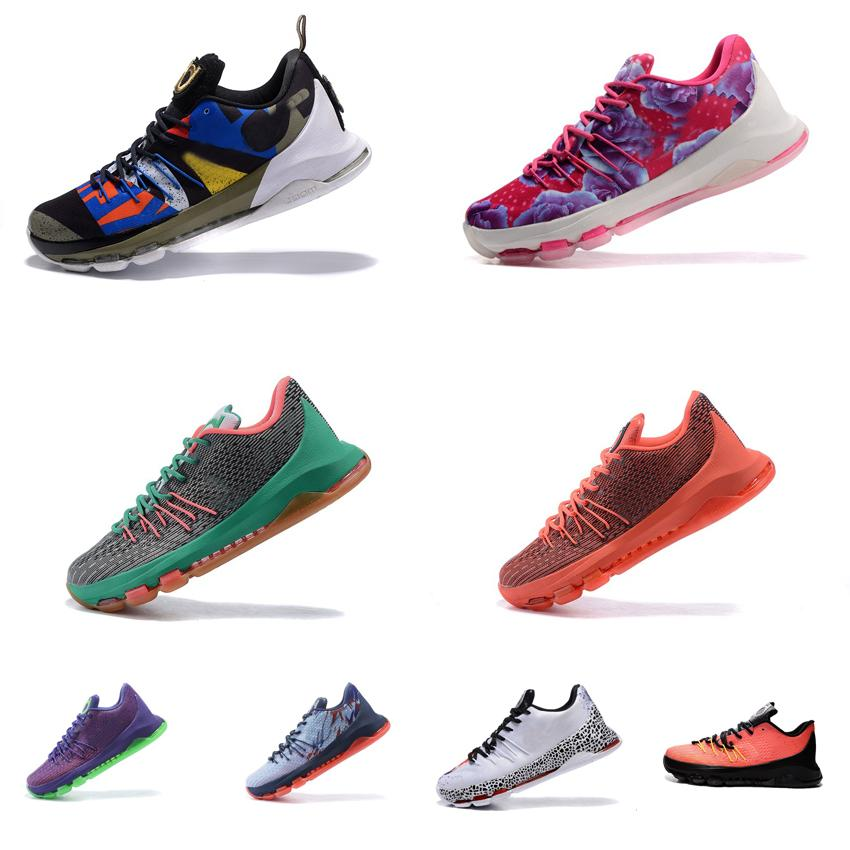 big sale 72478 b1fb2 2019 Cheap Mens KD 8 Basketball Shoes For Sale ASG Floral Aunt Pearl USA  Christmas Red Kds Kevin Durant VIII KD8 Low Cut Sneakers Boots With Box  From ...