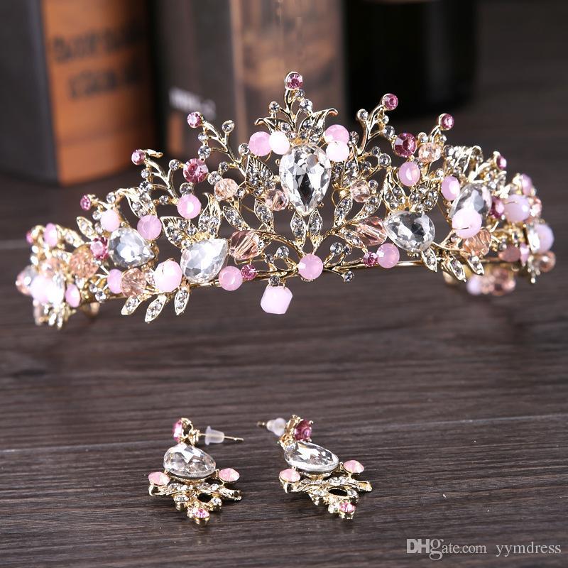 Lüks Gelin Taç Rhinestone Kristaller Kraliyet Düğün Kraliçe Taçlar Prenses Kristal Barok Doğum Günü Partisi Tiaras Küpe Pembe Altın Tatlı 16