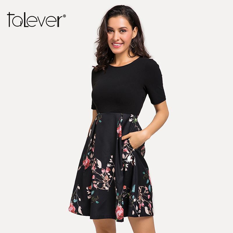7effe9a643c Women Elegant OL Black Midi Dress Female Floral Print A Line Half Sleeve Draped  Dress Spring Autumn Lady Party Dresse Talever Tunic Dress White Dresses For  ...