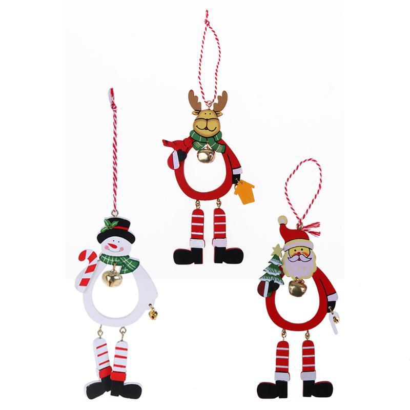 Wooden Santa Claus Snowman Elk Xmas Tree Hanging Ornaments for Christmas Decoration Bell Pendants DIY Christmas Party Decoration