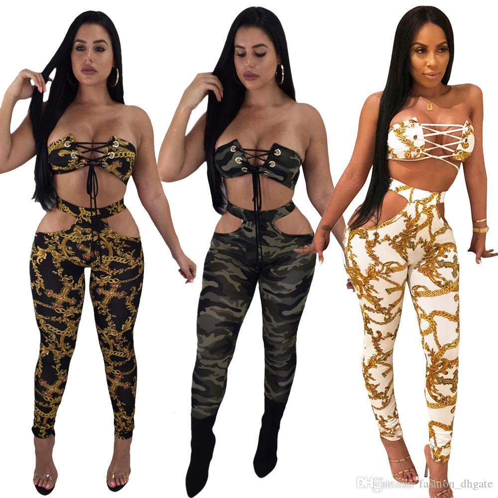 Gold Print / Camouflage Sexy CLUB 2 Stück Set Weibliche Sommer Liebsten Hohl Lace Up Crop Top Und Taille Band Cut Out Slim Pants