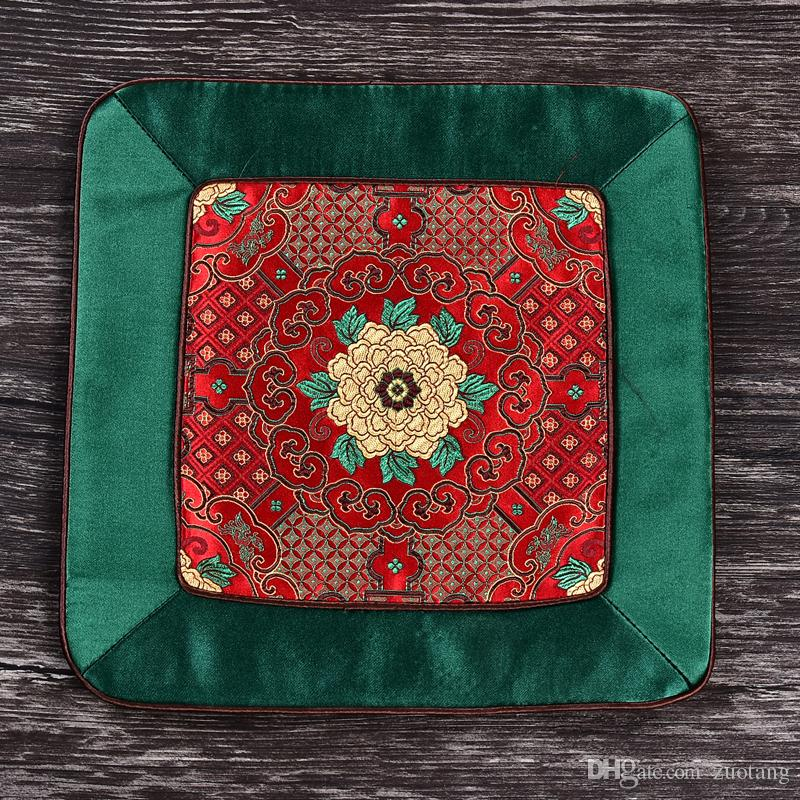 Patchwork Luxury Vintage Square Dining Table Mat Coaster Natural Mulberry Silk Placemats Chinese style Coffee Table Pads Coasters 25x25 cm