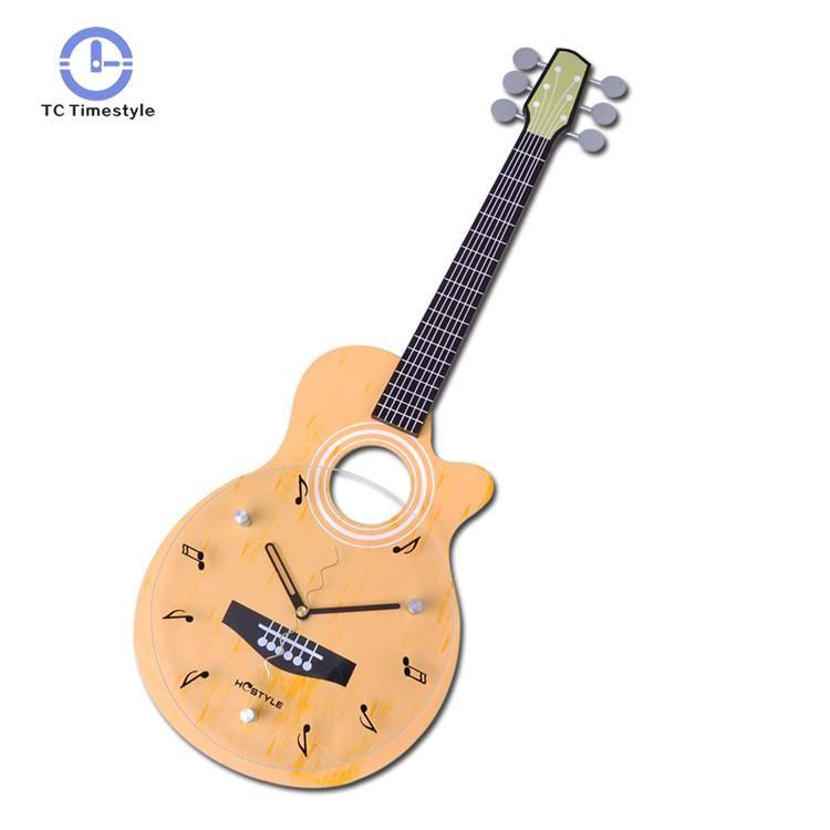Watches Forma Mdf Hogar Relojes Mute Del Decoración En Hanging Accesorios Guitarra Reloj De Creativo Forme La Cristal Dial Pared LSpGqzMVU