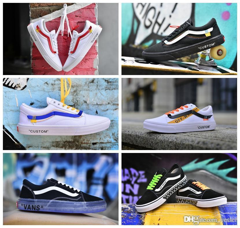 2018 Old Skool Canvas Casual Shoes Men Women Skateboard X Willy Sports Shoes  White Black Custom Skate Off Sneakers Trainers Size 36-44 Casual Shoes Old  ... cd0d58b5a