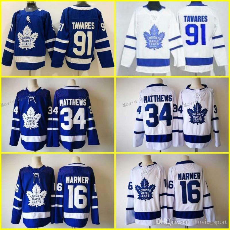 30a3cf36f 2019 New 91 John Tavares Jerseys Blue White Toronto Maple Leafs 16 Mitch  Marner 34 Auston Matthews Hockey 100% Stitched Men Women Youth Kids From ...