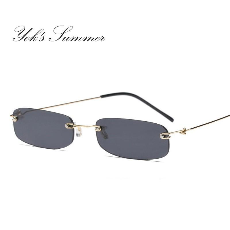 9e23575402 Yok S Mini Skinny Sunglasses Hippie Small Narrow Unisex Sun Glasses Rimless  Ocean Clear Shades Tiny Pink Transparent Eyewear WN1048 Cycling Sunglasses  ...