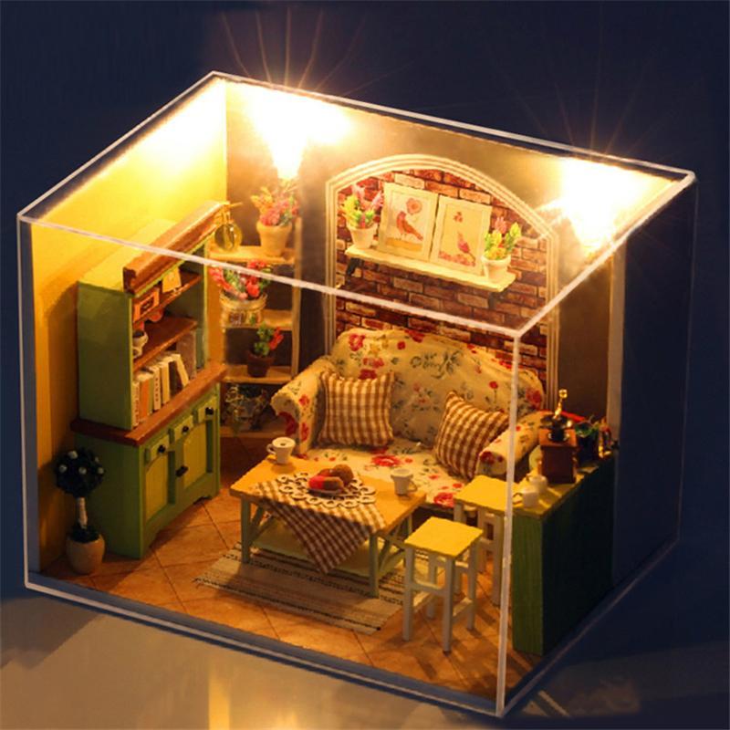 Mobili fatti a mano della casa di bambola 3D Miniatura Fai da te Soggiorno  Casa delle bambole in miniatura Giocattoli di legno per i bambini Ragazza  ...