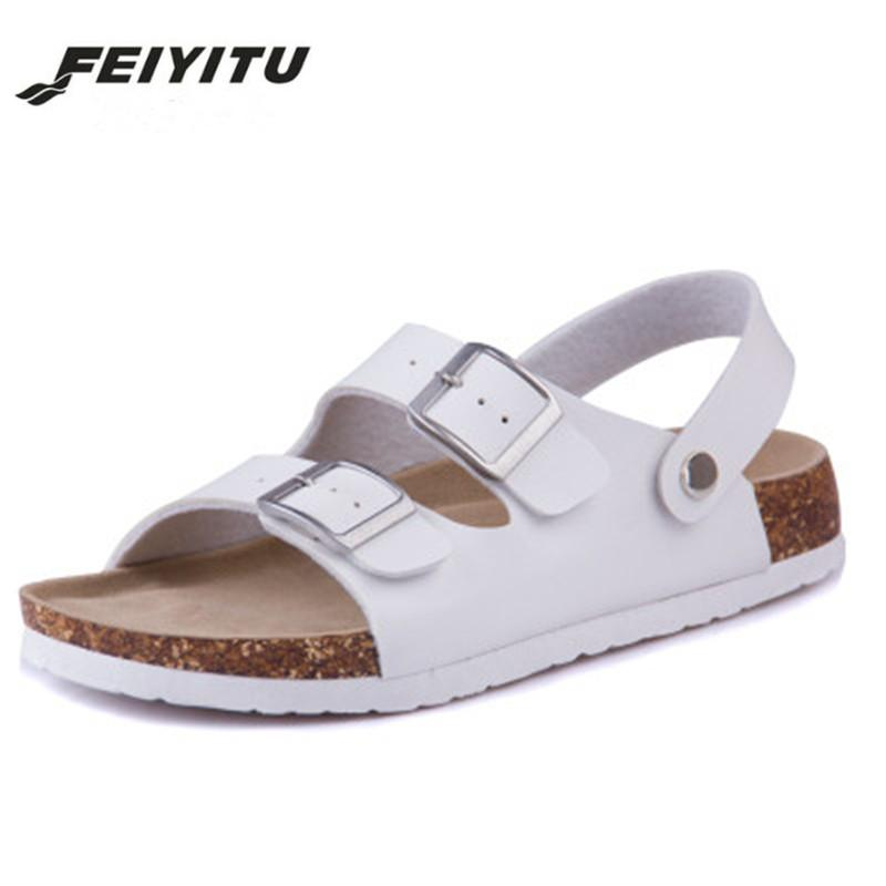 c43cf38c8a1ee Feiyitu 2018 New Summer Man Beach Cork Sandals Flat With Casual Men Double  Buckle Sandalias Valentine Shoe Black Blue White Purple Shoes Ladies  Footwear ...