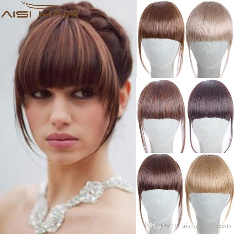 Black Brown Blonde Fake Fringe 2 Clips In Bangs Hair Extensions With