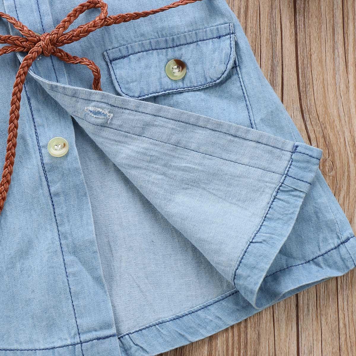 Helen115 прекрасные дети девочка одежда полный рукав джинсы джинсовые карманные свободные рубашки платья 2-7Years