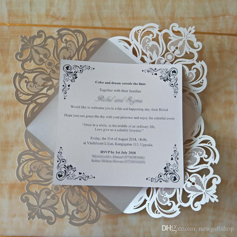 Luxurious Wedding Invitations Burgundy Fashion Laser Cut Vintage Personalized Printing Engagement Cards Wedding Supplies