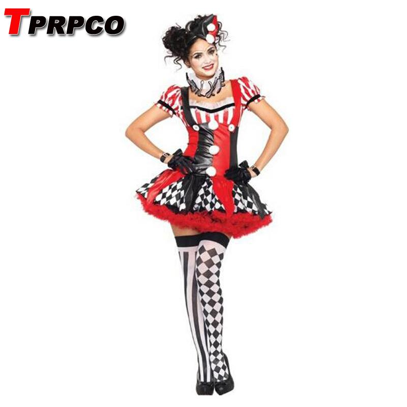 TPRPCO Funny Harley Quinn Costume Women Adult Clown Circus Cosplay Carnival  Halloween Costumes For Women NL163 Awesome Group Costumes Party Dress  Themes ... 6f03f6c6c6