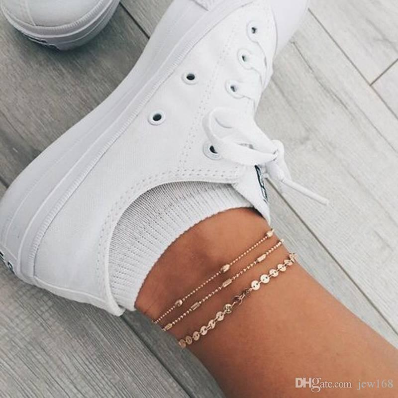 Gold Coin Anklets Dainty Disc Anklet Charm Foot Chain Women's Fashion Anklet Bracelet Jewelry Set Gifts