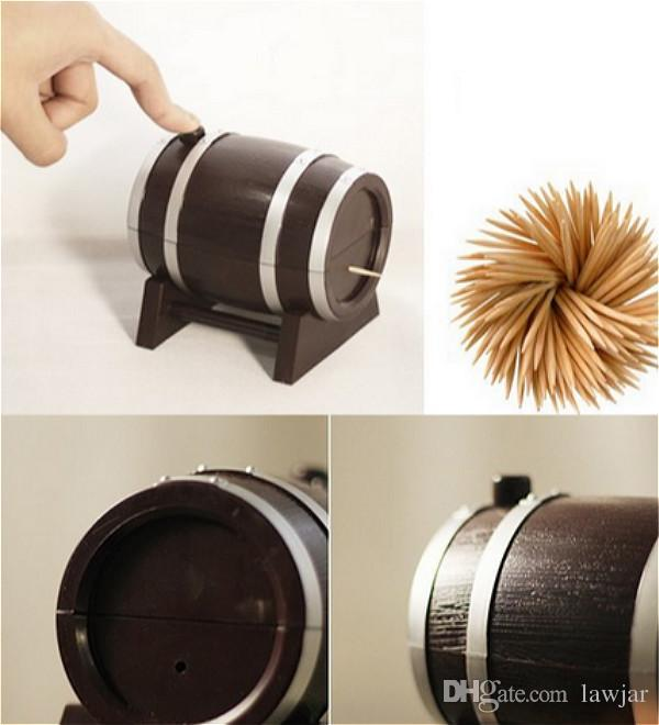 Wholesale- new fashion creative Automatic press Wine Barrel Plastic Toothpick Box Container Dispenser Holder