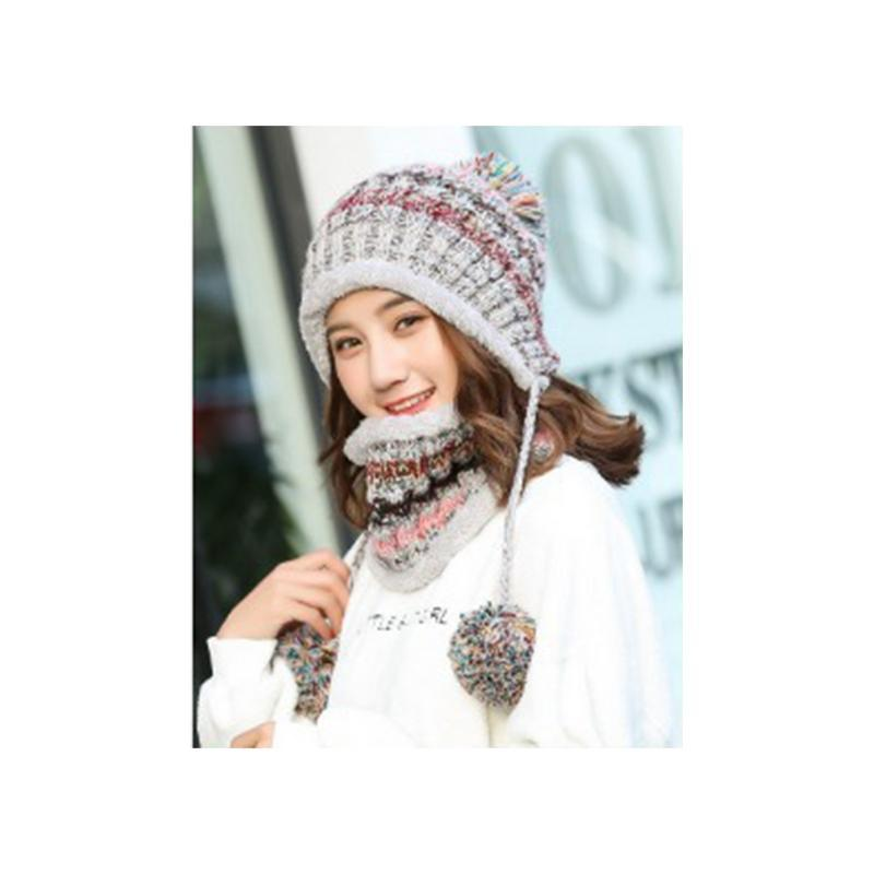 7f1037b50c5 Outdoor Hat Bib Warm Neck Guard Fleece Lined Thickened Knitted Hat ...