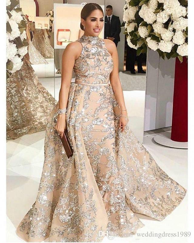 Sexy Ouro Lantejoulas Sereia Vestidos de Noite Com Saia Destacável Prom Vestido Longo Formal Vestido De Festa Pageant Vestidos Celebridade Ocasião Especial